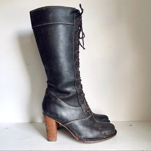 Frye Brown Leather Villager Lace Up Heel Tall Boot
